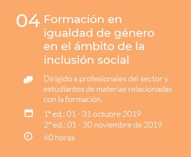 Formación en igualdad de género en el ámbito de la inclusión social