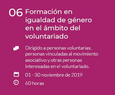 Formación en igualdad de género en el ámbito del voluntariado